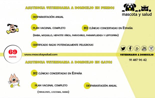 Coberturas de la asistencia veterinaria a domicilio de Madrid