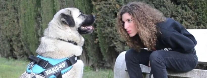 Raquel González, adiestradora canina de Comunican, junto a la perra Chata.