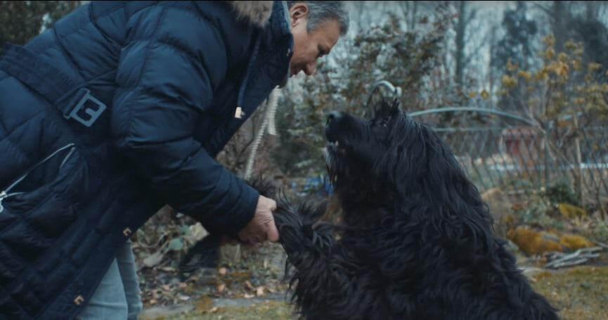 Propietaria saluda a su perro