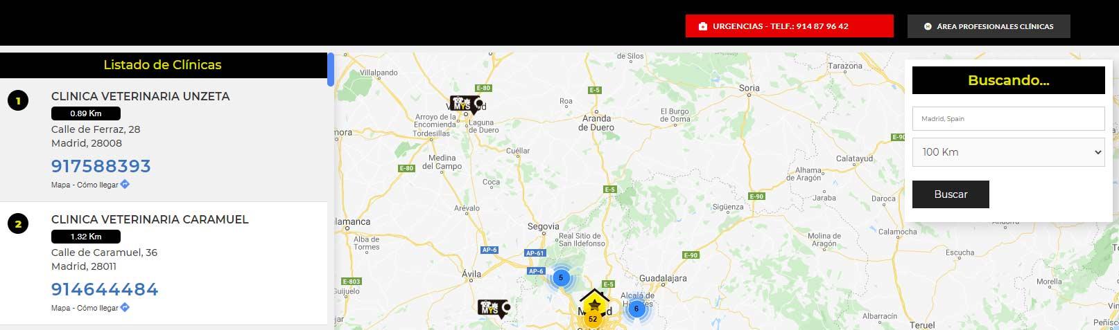 mapa clinicas Mascota y Salud